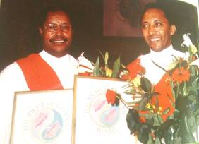 Professor Aklilu Lemma (right) who discovered the molluscicidal property of Phytolacca dodecandra and his research associates Professor Legesse Wolde-Yohannes (left)
